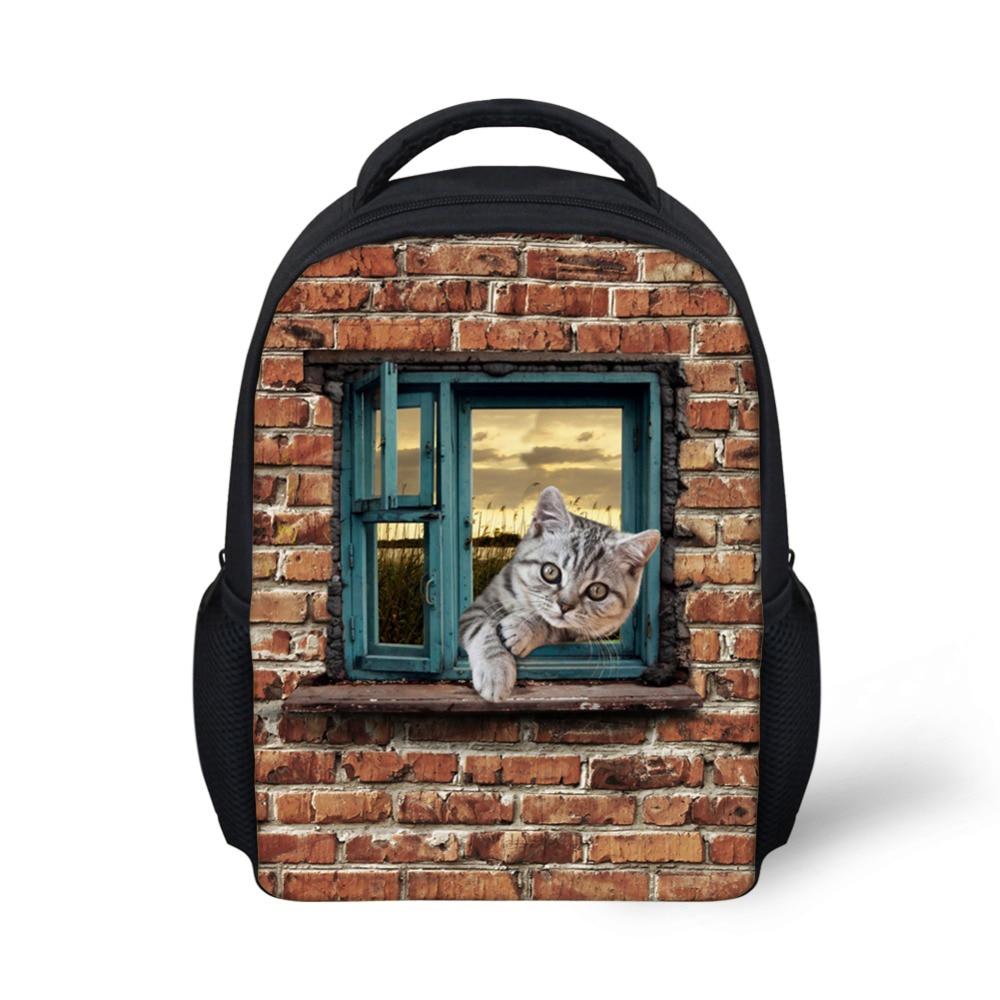 Vintage Animal Cute Cat Dog Print Children School Backpacks Kindergarten Baby Girls Kids Bagpack Rucksack Casual Mochila