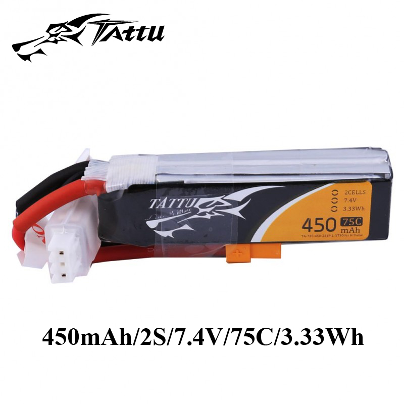 Ace Tattu Lipo Battery 7.4v 7.6v 450mAh 1s 2s 3s 4s 75C 95C with XT30 Plug Long size RC Batteries for 120 Size FPV Drone Frame image