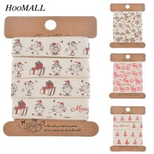 Hoomall  5 yards/Roll Chritmas Ribbon Satin Handmade Character Printed Grosgrain Ribbon New Year Decoration For Home
