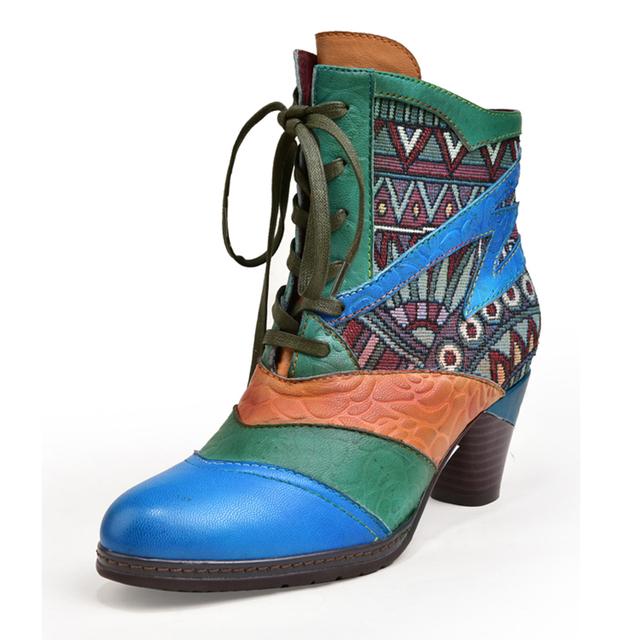 Ladies Heeled Leather Ankle Booties