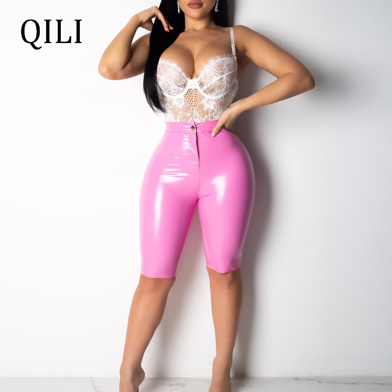 QILI New Hot Sale Women PU Length 1/2 Pants High Waist Zipper Stretchy Skinny 2019 Fashion Womens Leather