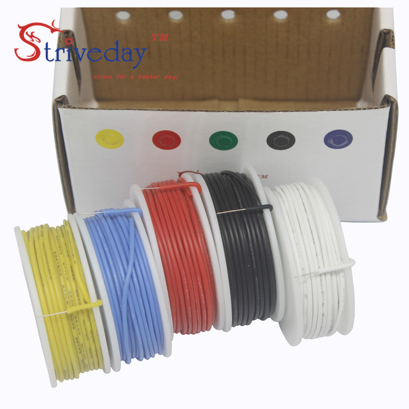 22AWG 19.68 feet /roll Flexible Silicone Solid electronic wire Tinned Copper line Kit 5 Colors DIY 30 meters/box дизао подарочный набор маски плацентарные коллагеновые бото для лица шеи глаз 14шт