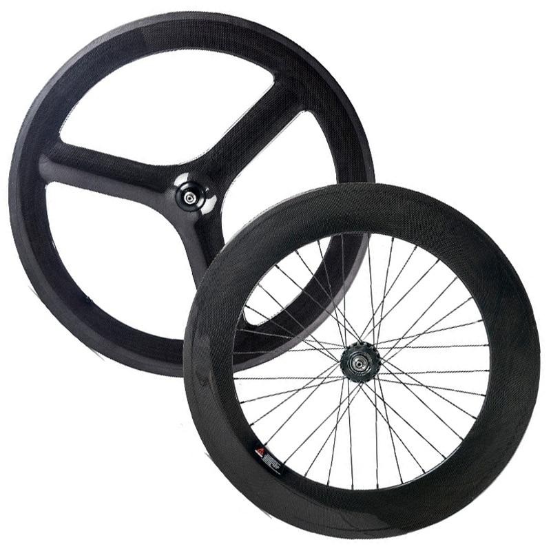 Mais novo 700C 3 88mm raios da roda traseira frente cheio de carbono roda de engrenagem fixo clincher rodas de carbono chinesas