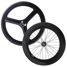 Новые 700C Полный carbon передняя 3 спицы колеса сзади 88 мм фиксированные передачи колеса довод китайские колеса углерода