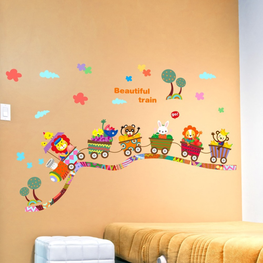 Beautiful Train Wall Sticker Cartoon Animals Train Wall Poster for ...