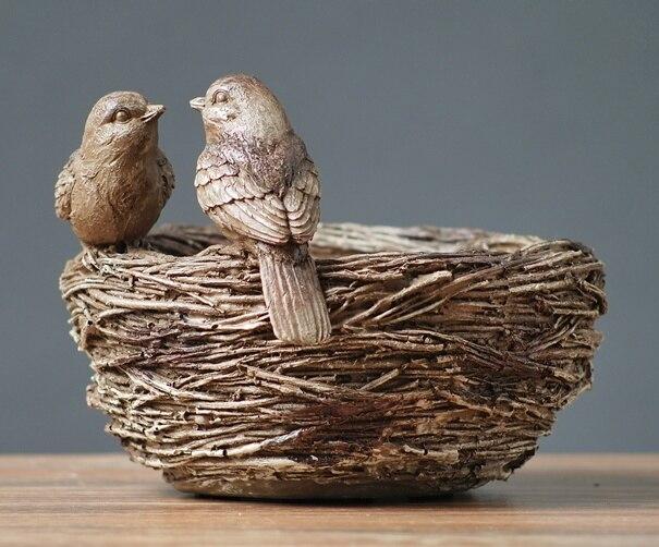 Style de campagne américaine moineau oiseau Couple et nid résine modèle Statue décor cadeau artisanat accessoires embellissement ameublement