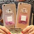 Botella de perfume líquido dinámico glitter stars quicksand tpu claro teléfono case para iphone 7 6 6 s plus 5S sí samsung s7 edge