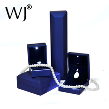 Blue PU Leather Deluxe LED Lighted Engagement Diamond Jewelry Ring Box Gift Propose Display Pendant Necklace Bracelet Bangle Box