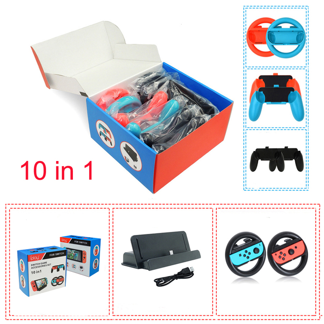 Nintend Switch 10 in 1 Accessories Kit with 4 Steer Wheels 4 Joy-con Handle Grips + 1 Console USB Charger for Nintendo Switch