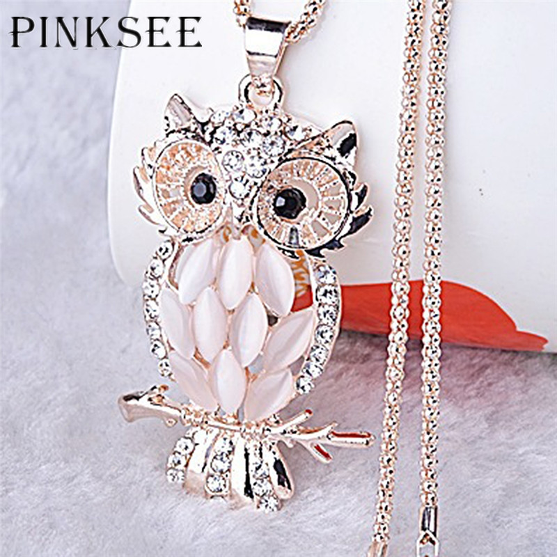 PINKSEE Vintage Ladies Owl Pendant Necklace Rhinestone Animal Design Jewelry for Women Sweater Gold Color Long Chain