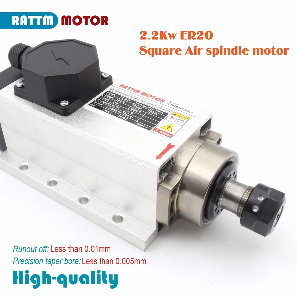 EU Delivery! Square 2.2kw High Quanlity Air-cooled spindle motor 220V 24000rpm ER20 Runout-off 0.01mm Ceramic bearing