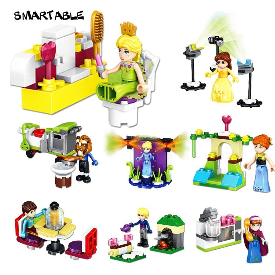 Он произвел неизгладимое 8 шт. девочки строительные Конструкторы Принцесса праздник Анна Эльза Красота и чудовище рисунок игрушки Совмести... ...