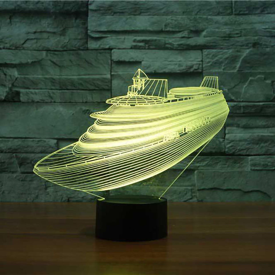 7 Colors Change 3D Usb Table Lamp Atmosphere Led Boat Night Light Baby Sleep Lighting Bedroom Decor Cruise Ship Modelling Gifts