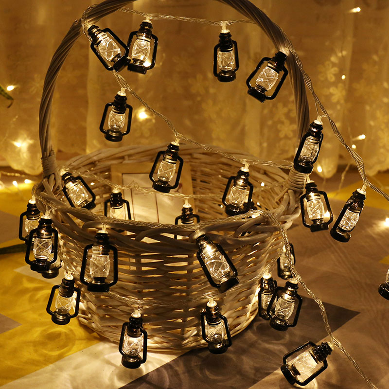 20 Bulbs Retro Garland LED Lantern String Lights Christmas Battery Powered Fairy Lights Holiday Party Outdoor Decorations
