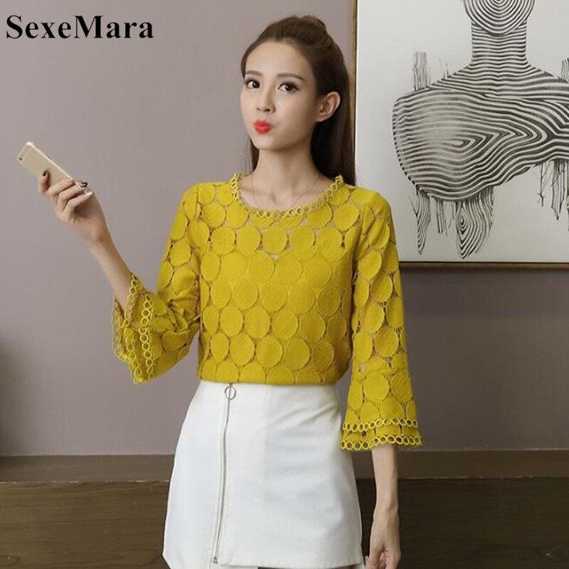 565664b93 De encaje blusas camisas nuevo 2019 otoño coreano ropa de las mujeres de  manga cuello Slim Mujer albaricoque blanco Tops