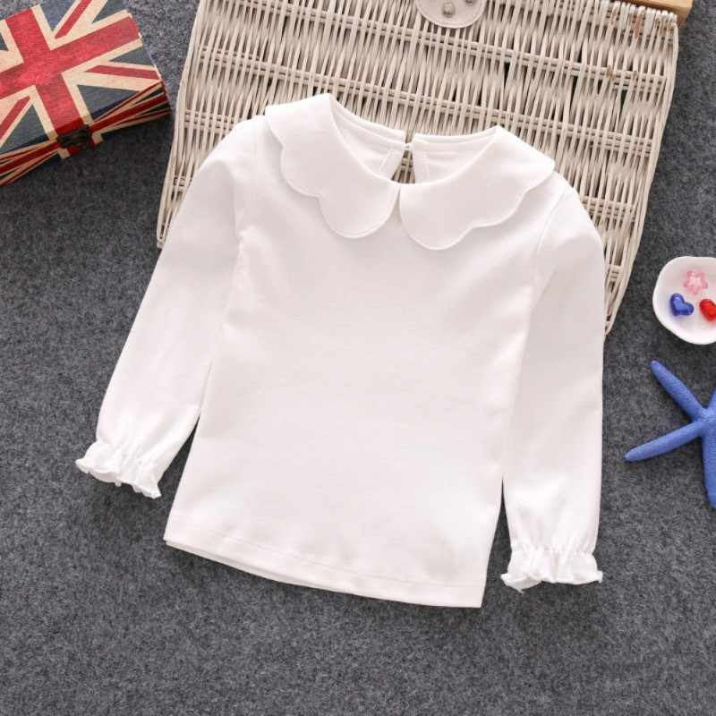 Baby Girls T-Shirts Long Sleeve T-shirt Cotton Casual Princess Toddler Solid Tops Blouse
