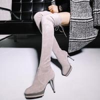 SALCXO Winter Boots Women Over The Knee Boots Platform High Heel Boots Suede Womans Black Socks