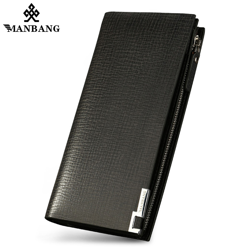 ManBang Business Men Wallets New Genuine Leather Long Wallet Portable Cash Purses Casual Wallets Male Clutch Bag Hight Quality 2016 famous brand new men business brown black clutch wallets bags male real leather high capacity long wallet purses handy bags