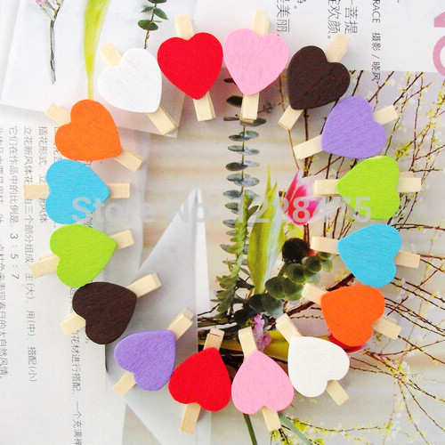 10PCS/lot New Fashion Cute Special Gift Many Colors Heart Wooden Clip Mini Bag Clip Paper Clip Wood Pegs