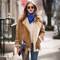 Новый женская куртка Мотоцикла, 2017 стиль звезд дамы толстые теплые кожа овчины, женщины шерстяное пальто один кусок