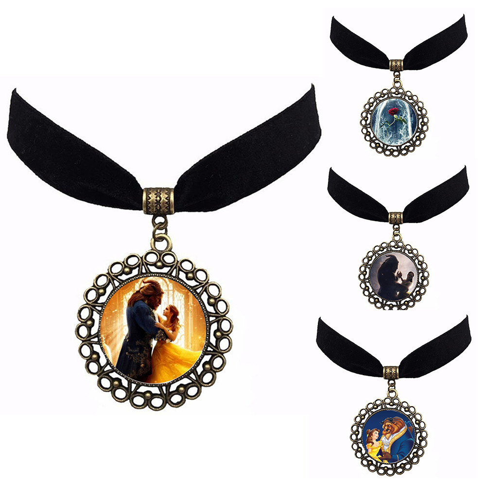 2018 Movie Beauty and the Beast Pendant necklace chain Figure Model cosplay accessary