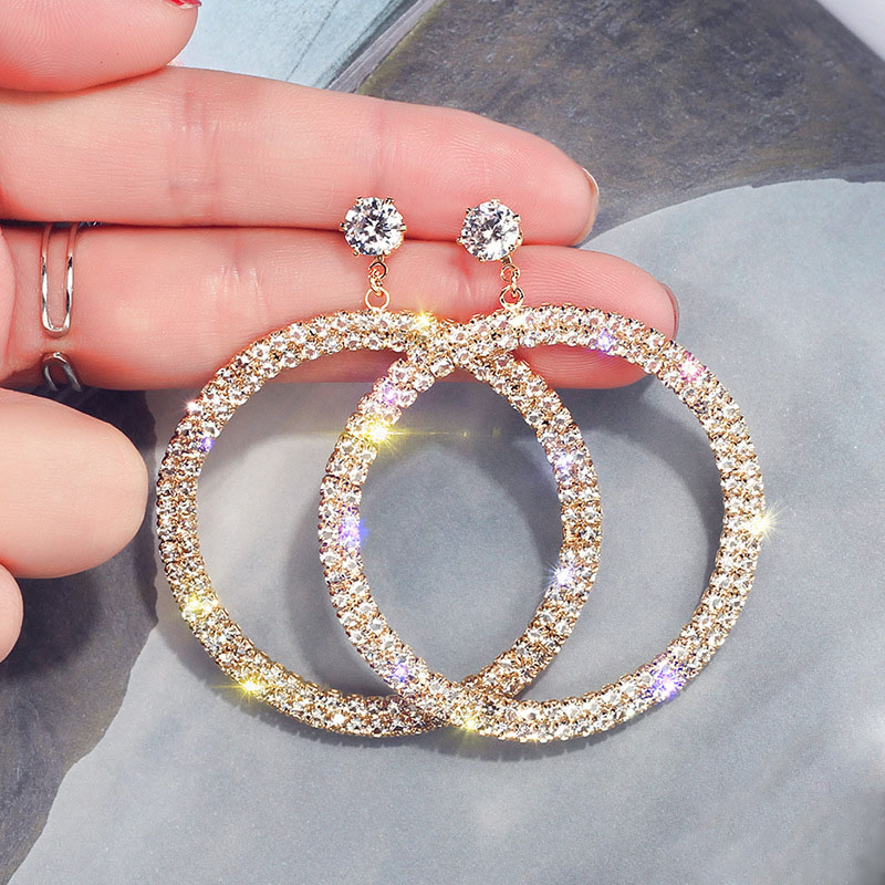 Luxury 3 Layers Big Loop Drop Earrings for Women Silver Gold Crystal Circle Round Dangle Earring Wedding Party Statement Earings in Drop Earrings from Jewelry Accessories