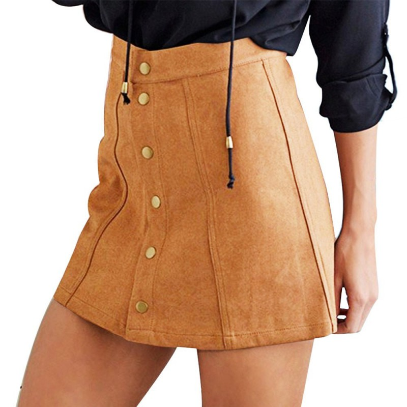 COCKCON Summer Skirts Sexy Faux Suede Women Skirt A-Line Button Mini Female Skirts Plus Size