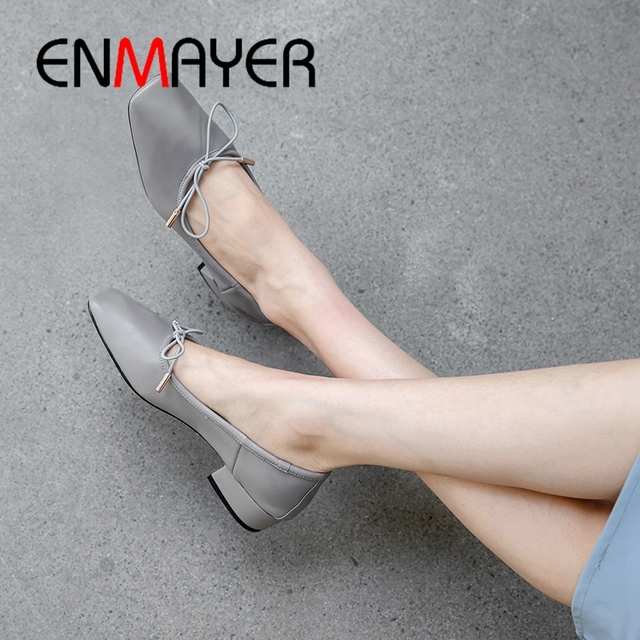 ENMAYER 2019 Women  Mary Janes  Low Square  Heels Women  Genuine Leather  Square Toe  Casual Solid shoes Size 34-39 LY2042