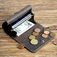 Short Purse Men Retro Crazy Horse Leather Handmade Change Wallet Leather Coin Bag Small Card Bag Men Women