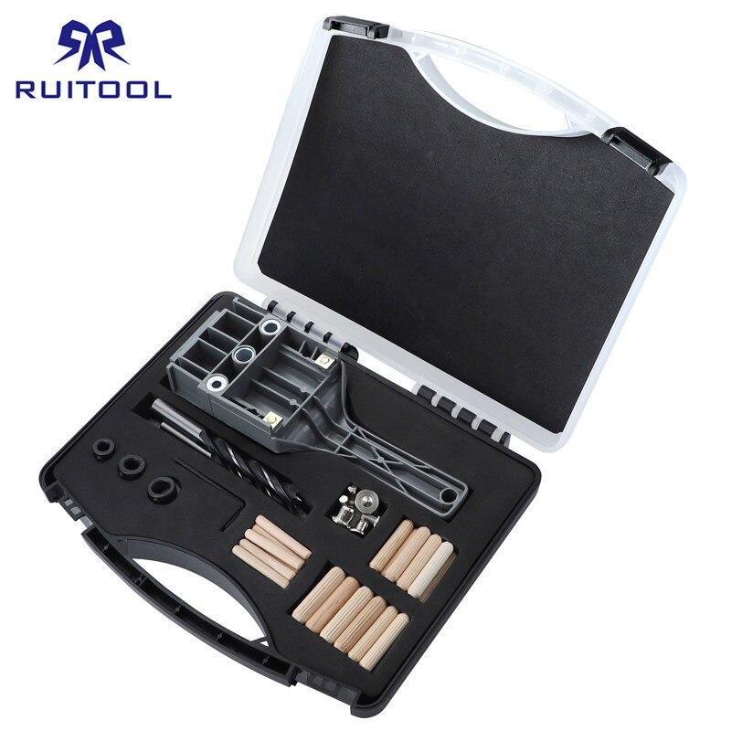 Dübel Jig 6 8 10mm Holz Bohrer Tasche Loch Jig Kit Mit Box Verdicken ABS Kunststoff hand loch Drill Guide Für Holzbearbeitung