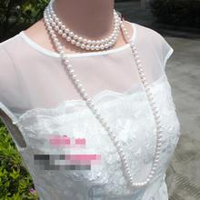 8-9 mm round natural freshwater white pearl necklace 50 inch