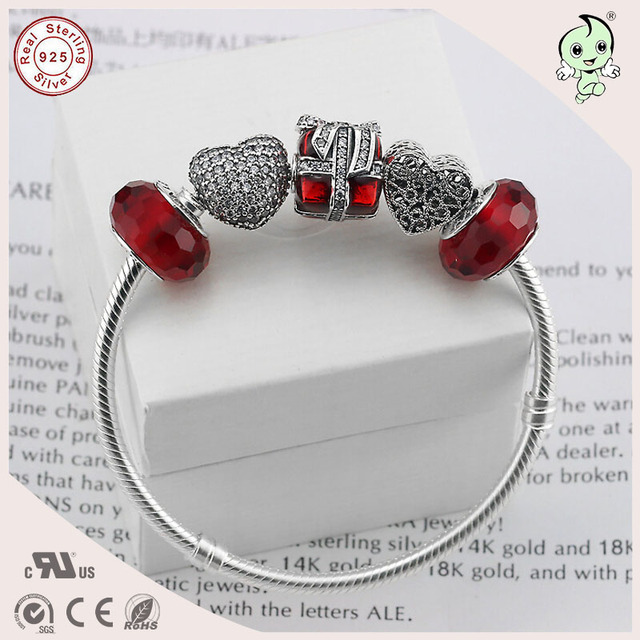 Hotsale  CZ Paving Love Heart Clasp 925 Sterling Silver Snake Bracelet With Silver Red Zircon And Love Heart And Box Charms