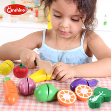ONSHINE 19pcs Children Wood Kitchen Toys Colorful Pretend Toys Educational Cut Toys for Kids Baby Magnetic Cut Fruit Vegetable