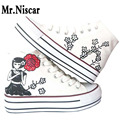 LEO Cartoon Women Graffiti Platform Shoes High Top Style Cartoon Woman Female Hand Painted Canvas Flat Shoes for Girls