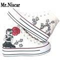 LEO de Dibujos Animados Mujeres Plataforma Zapatos del Top del Alto Estilo de Dibujos Animados de Graffiti Mujer Femeninos Pintados A Mano Zapatos de Lona Planos para Niñas