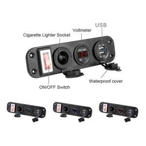 Image 2 - Ładowarka samochodowa podwójny Adapter USB 12V gniazdo do zapalniczki woltomierzem LED przełącznik 2019 nowy