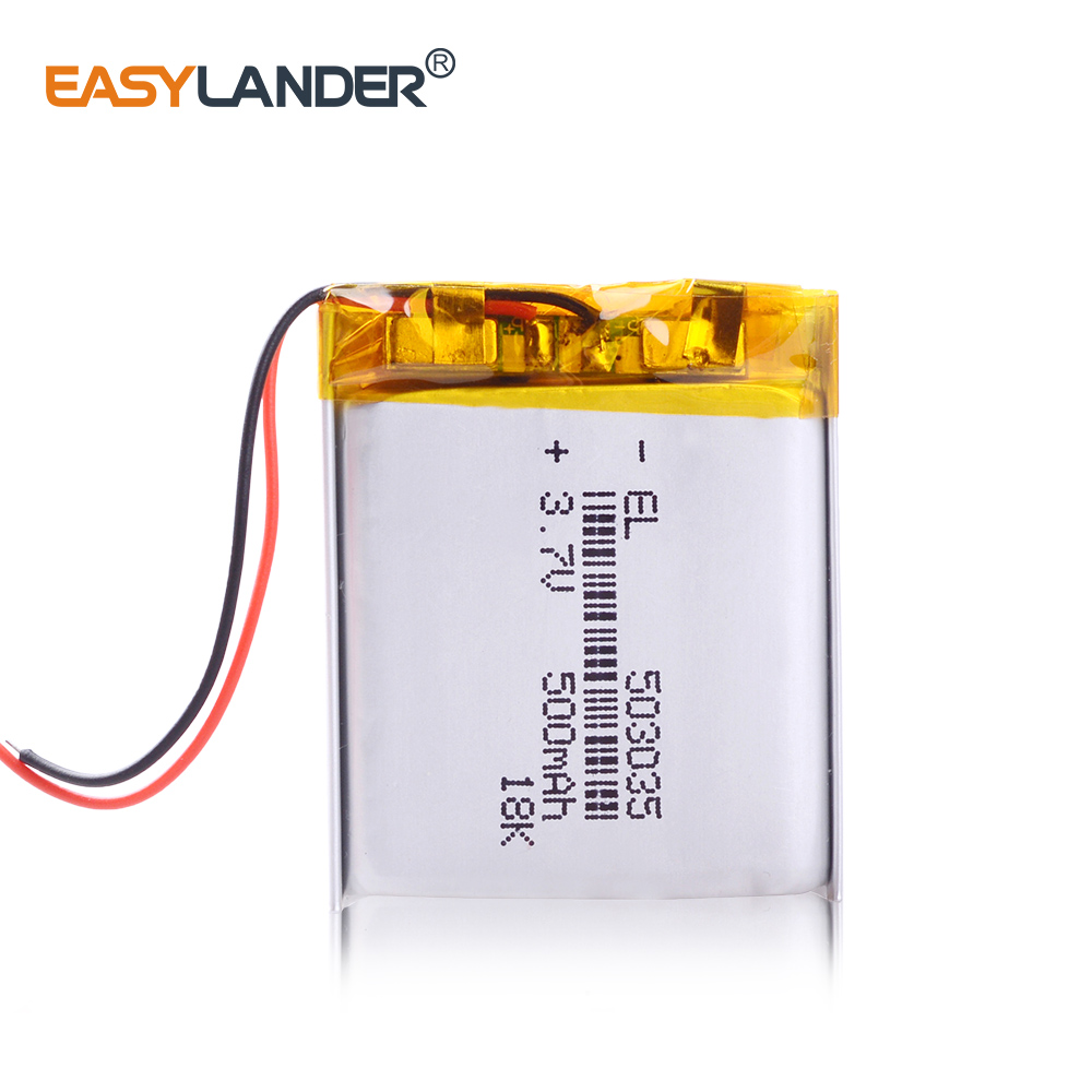 <font><b>503035</b></font> <font><b>3.7v</b></font> <font><b>500mah</b></font> lithium polymer <font><b>battery</b></font> 3 7V volt li po ion lipo rechargeable <font><b>batteries</b></font> for dvd GPS navigation image