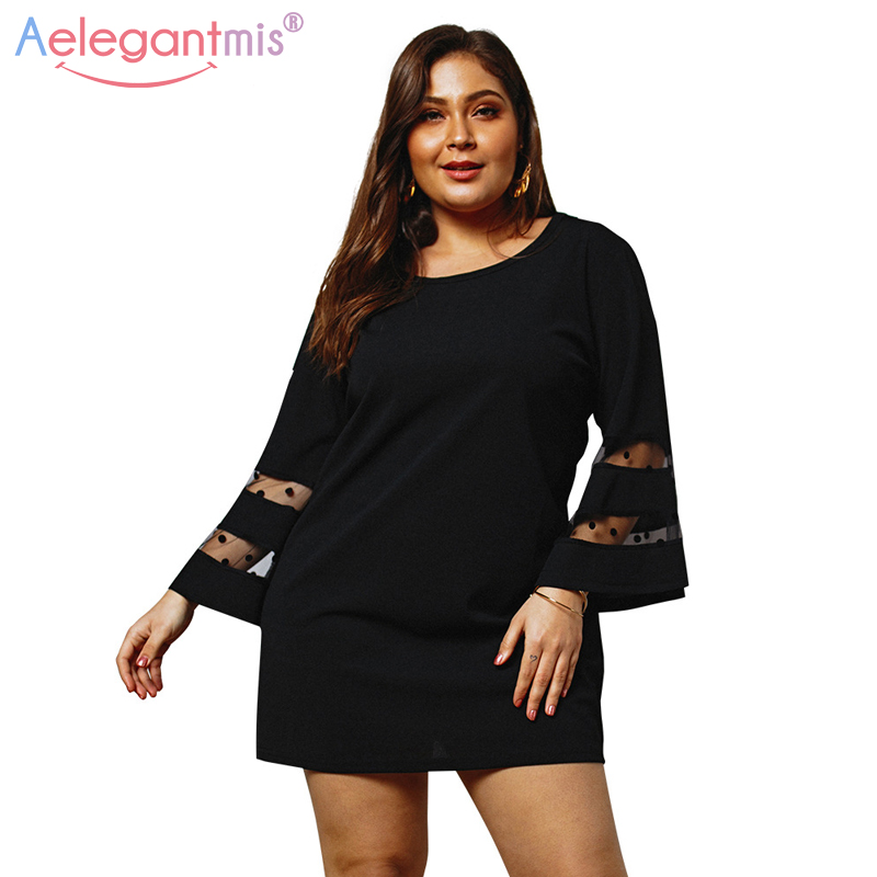 US $14.16 47% OFF|Aelegantmis Black Green Women Oversized Summer Dress Plus  Size Flare Long Sleeve Mini Dresses Ladies Large Size Short Dresses-in ...