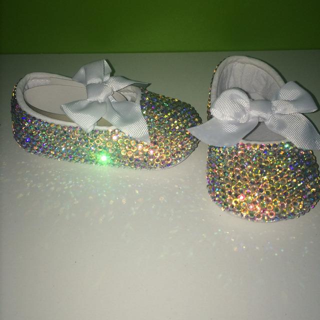 Dollbling bebé personalizado nombre y fecha de cumpleaños impresionante increíble agradable zapatos de boda nupcial zapatos de niña bautismo infantil