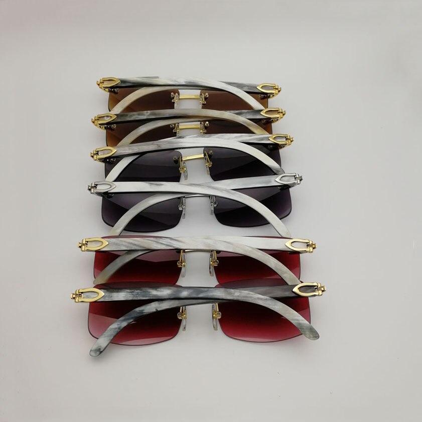 Naturel blanc Mix noir buffle corne lunettes de soleil hommes Vintage en bois miroir lunettes pour Club clair lunettes cadres Oculos nuances