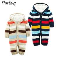 Baby Winter Romper Striped Thickened Hooded Jumpsuit Winter For Baby Boy Girl Newborn Baby Winter Clothing