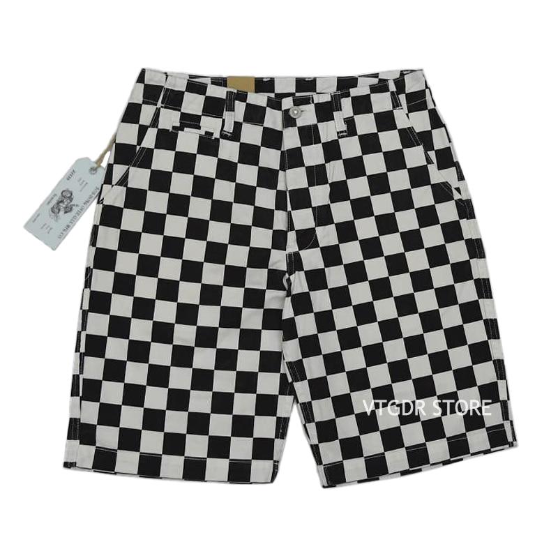 BOB DONG Checkerboard Racing Track Style Summer Men Shorts Black & White Check