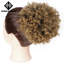 Spring sunshine Synthetic Puff Afro Short Kinky Curly Chignon Hair Bun Drawstring Ponytail Wrap Hairpiece Fake Hair Extensions(China)