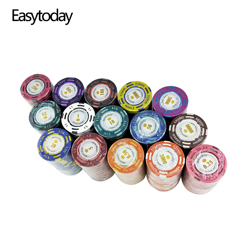 Easytoday 20Pcs/set Upscale Poker Chips Set 14g Clay Embedded Iron Texas Hold'em Baccarat Professional Poker Chip Games