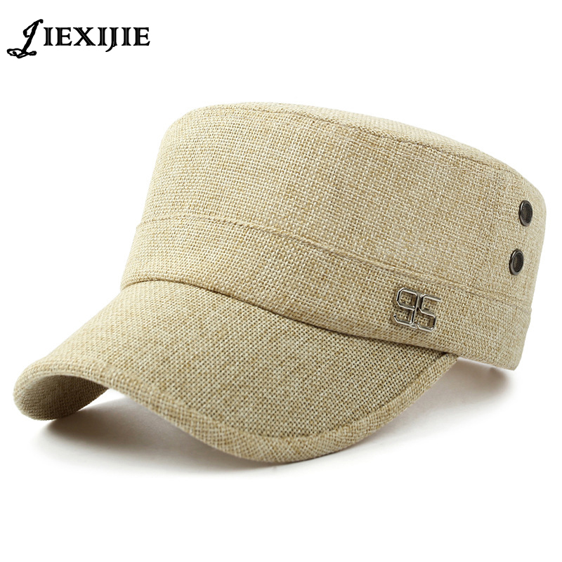 Summer Autumn men sun visor linen hat leisure sports Military Cap Women Cotton Flat Top Army Hat with Air Hole Adjustable