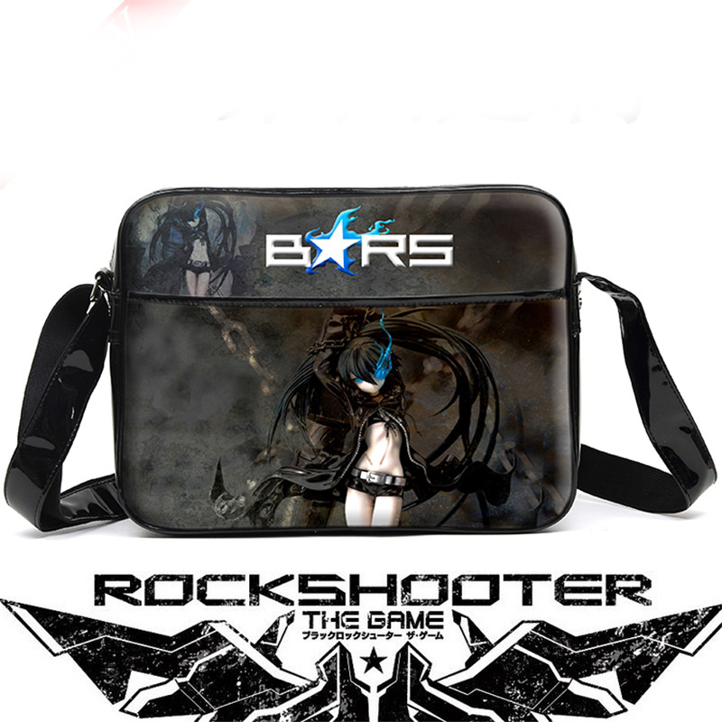 Black Rock Shooter Unisex Cartoon Anime Cosplay Messenger Bag Waterproof PU Men Women Schoolbag Shoulder Bags