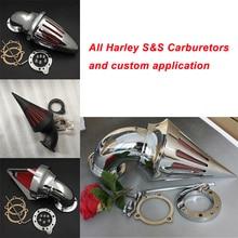 For Harley Davidson S&S custom CV EVO XL Sportster Motorcycle Air Cleaner Kit Intake Filter Black Chrome