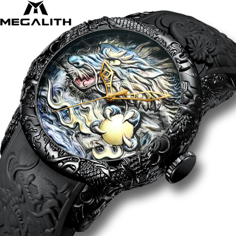MEGALITH Fashion Gold Dragon Sculpture Watch Men Quartz Watch Waterproof Big Dial Sport Watches Men Watch Top Luxury Brand Clock Lahore