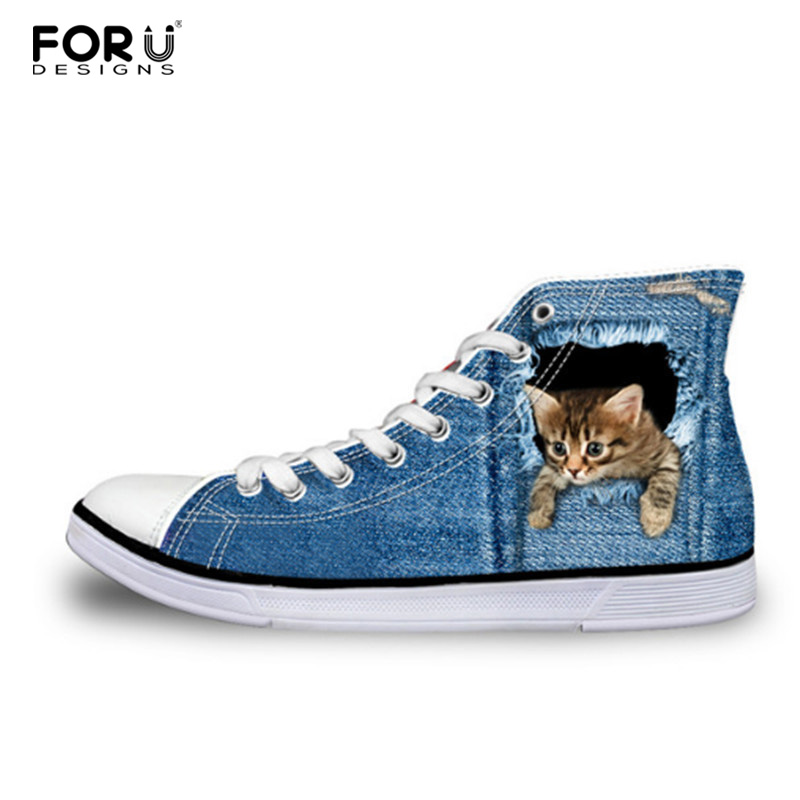 FORUDESIGNS Teen Girls High Top Canvas Shoes Classic Denim Cat Print Women Vulcanized Shoes Female Spring Leisure Lace up Shoes eyelet lace botanical print top