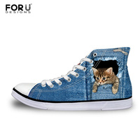 FORUDESIGNS Teen Girls High Top Canvas Shoes Classic Denim Cat Print Women Vulcanized Shoes Female Spring Leisure Lace up Shoes